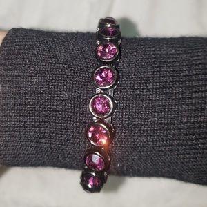 Black Silver Amethyst Crystal Gem Wrap Bracelet